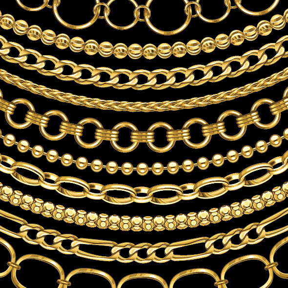 New Chain Jewelry AI Pattern brushes Tradigital Art Designs by
