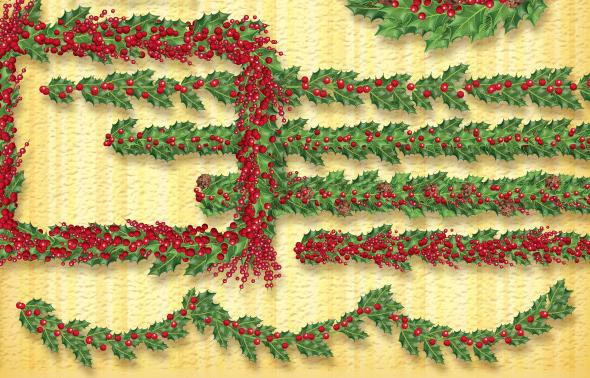 Holly Wreath Garland Brush Set