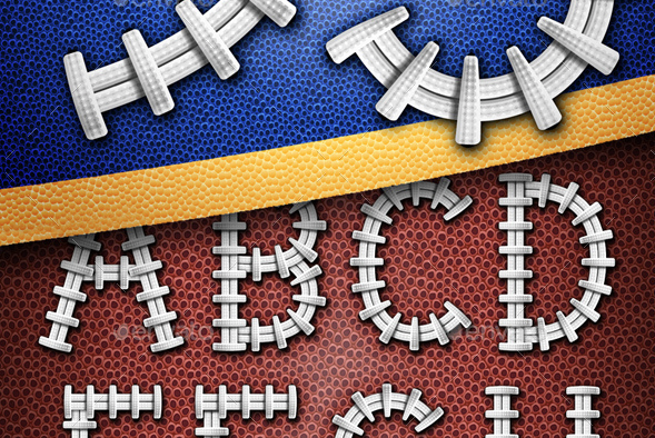 Football Letters and Numbers Set