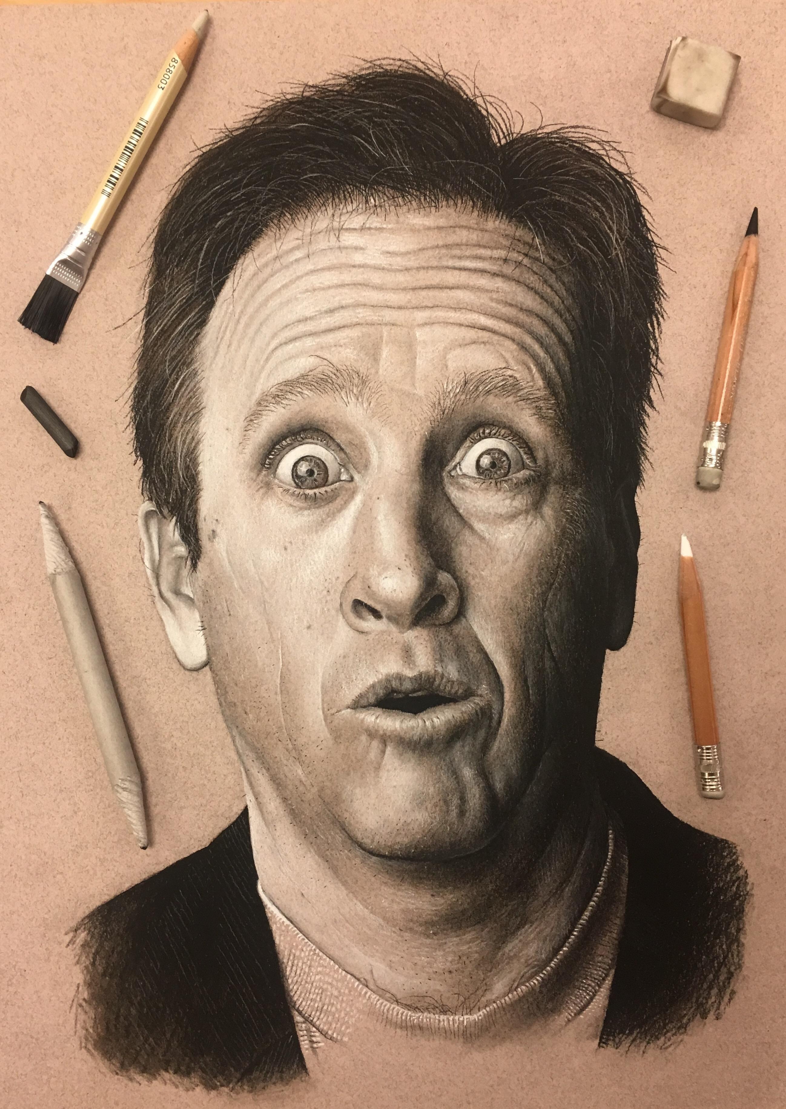 Charcoal drawing of comedian jeff allen tradigital art designs by
